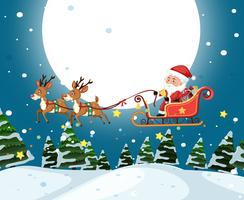 Santa riding sleigh christmas template