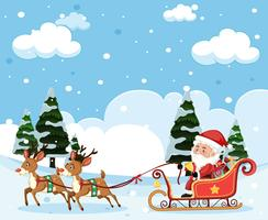 Santa riding sleigh christmas template