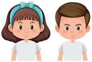 Jungen und Mädchen weißen Hintergrund
