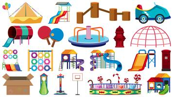 Set of different playground objects vector