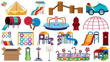 Conjunto de diferentes objetos del patio de recreo.