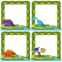 Set of dinosaur on border template