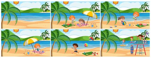 Set of summer beach scene