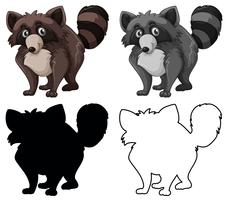 Set of raccoon character