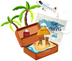 Summer beach in the suitcase vector
