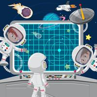 Children astronuats on a spaceship