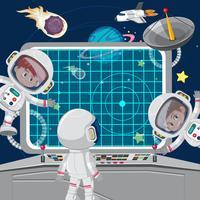 Astronuati di bambini su un'astronave