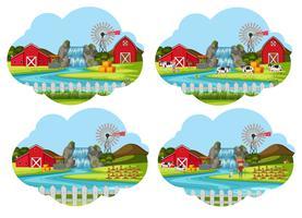 Set of farming scenes