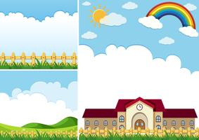 Three background scenes with blue sky