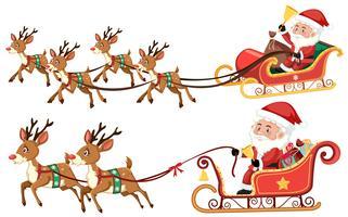 Santa su una slitta su sfondo bianco