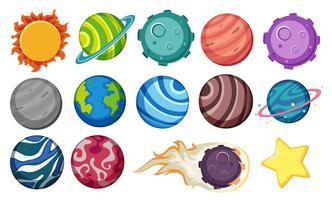 Set av planeter och stjärna