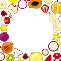 A Template of Colourful Tropical Fruits