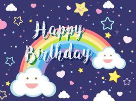 Feliz aniversário, cartão bonito, céu vetor