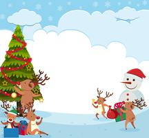 Background design with reindeers and snowman