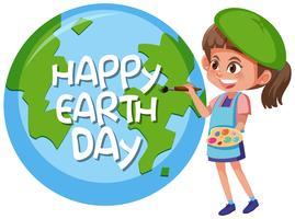 Concepto de niña feliz día de la tierra