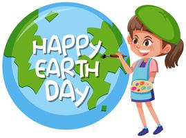 Happy Earth day girl concept vector