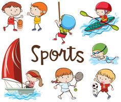Different Sports on White Background