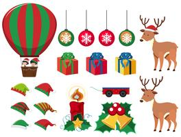 Christmas elements with presents and reindeers