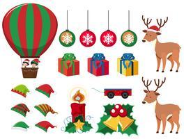 Elementi natalizi con regali e renne