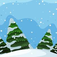 Platte ontwerp van winterlandschap
