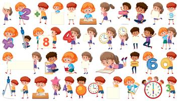 Set of mathematic kids character