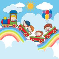 Kids on Train auf der Rainbow Road