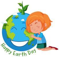 Tjej med jordens dag symbol