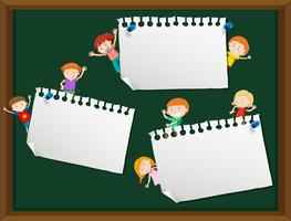Children with blank note template