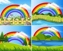 Set of rainbows in green fields
