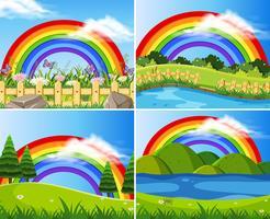 Set of rainbows in green fields