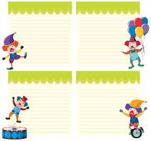 Set of clown on note template