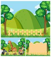 Background templates with cute animals in the field