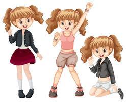 Set of fashionable girl vector