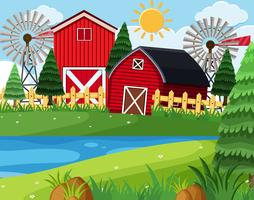 Red barns on farm scene vector