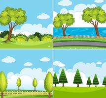 Four background scene with green trees