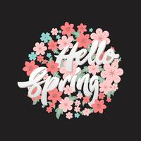 Hello spring flower circle design template.