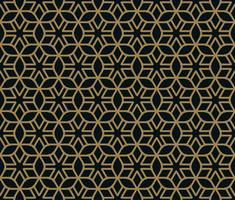 Seamless pattern of intersecting thin gold lines on black background. Abstract seamless ornament. vector