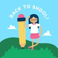 Cute Girl With Pencil And Landscape To Back To School