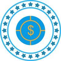 Vector icono de dólar objetivo