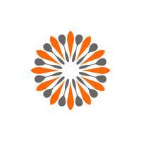 Progettazione ornamentale dell'illustrazione del modello di Logo del segno del fiore della stella. Vettore ENV 10.