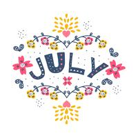 Hand Drawn July Typographic Vector