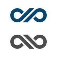 Progettazione dell'illustrazione del modello di logo di infinito della lettera di DP. Vettore ENV 10.