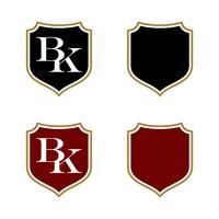 Projeto da ilustração do molde do logotipo do protetor da letra de BK. Vetor eps 10
