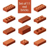 Set of 11 red bricks