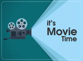 proiettore cinematografico a movimento retrò con testo è l'ora del film.