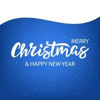 Christmas lettering on blue vector