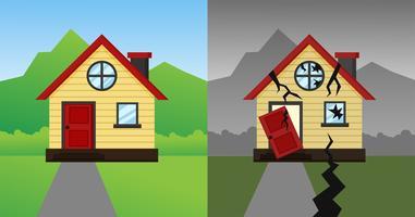 Das Haus, das nach dem Erdbeben und Sturm abgestürzt ist. Vektor-Illustration.
