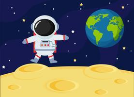 Gli astronauti dello spazio del fumetto sveglio esplorano la superficie lunare della terra.