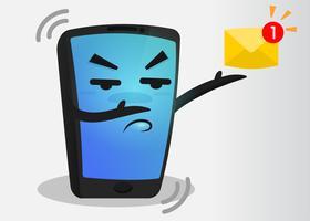 Teléfono móvil de dibujos animados que vibra la alerta de mensaje entrante.