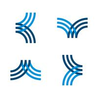 set Blue line K letter logo template Illustration Design. Vector EPS 10.